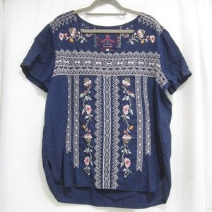 """Johnny Was L Linen Embroidered Tunic Fall 44"""" Bust"""